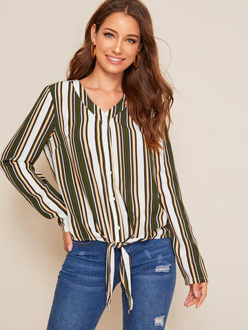 Tie Hem Striped Shirt