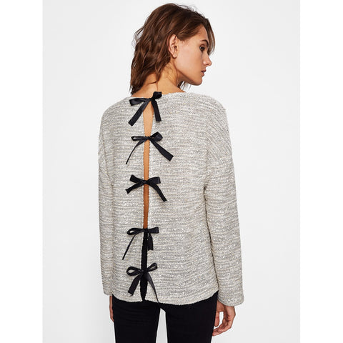 Slit Bow Back Knit Top