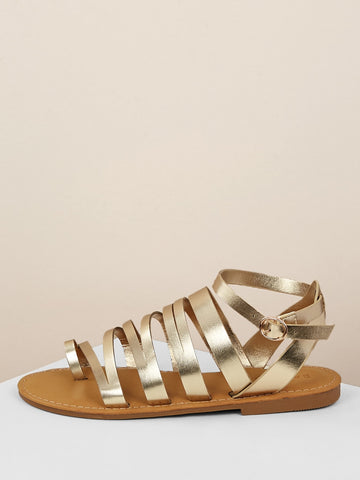 Metallic Toe Loop Buckled Ankle Flat Sandals