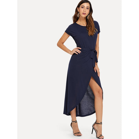 Knot Detail Split Hem Dress