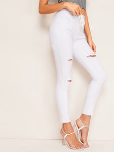 Drawstring Waist Ripped Skinny Jeans