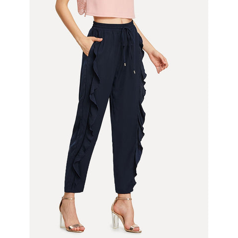 Ruffle Embellished Drawstring Solid Sweatpants