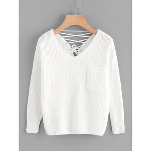 Double V Lace Up Back Chunky Knit Jumper White