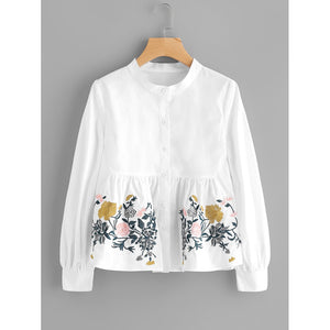 Flower Embroidered Smock Blouse Casual