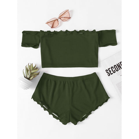 Lettuce Edge Bardot Crop Top With Shorts