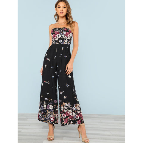 Shirred Back Strapless Culotte Jumpsuit