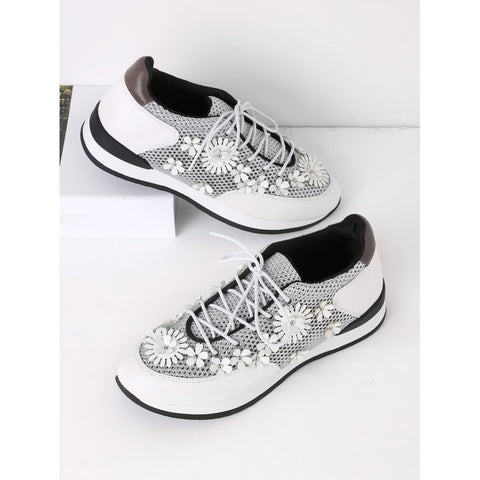 Flower Embellished Lace Up Sneakers - Anabella's
