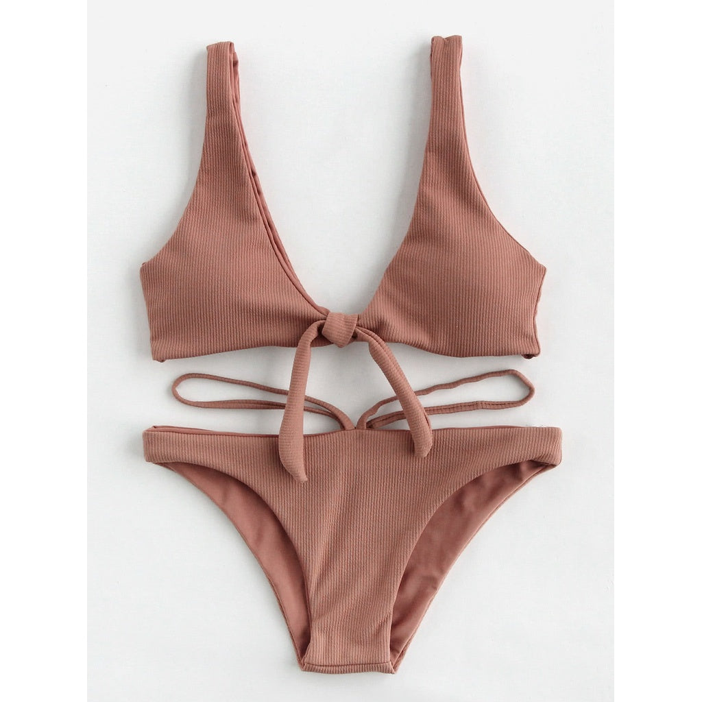 Double Deep Plunge Bow Detail Ribbed Bikini Set