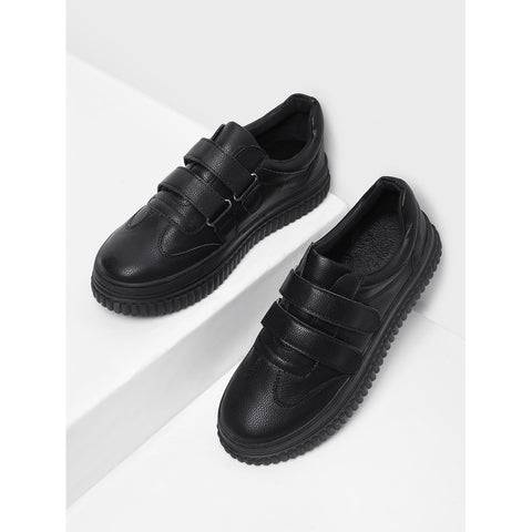 Pu Velcro Round Toe Sneakers Black