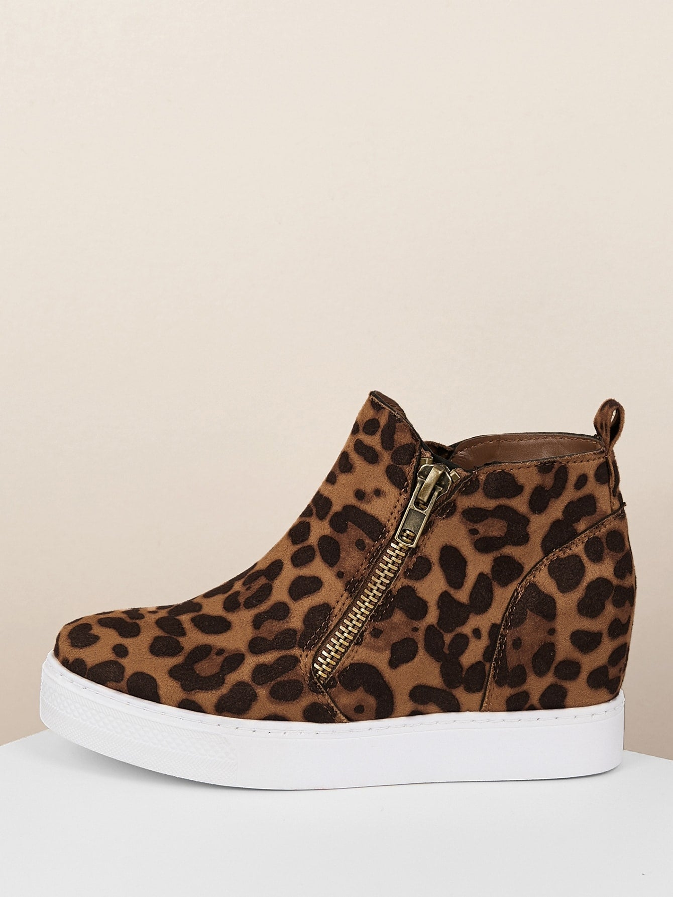 Leopard Side Zipper Platform Wedge Sneakers