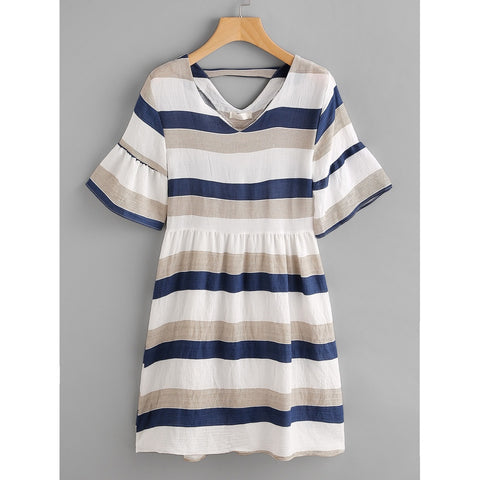 Contrast Striped Double V Fluted Sleeve Dress Multicolor