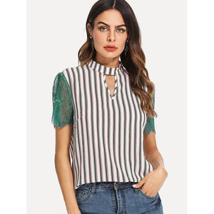 Keyhole Neck Lace Sleeve Striped Top