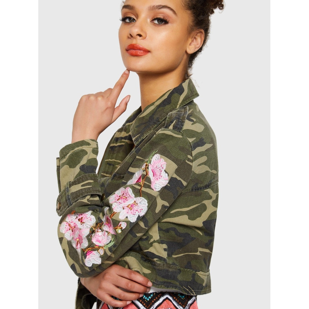 2bb4aa6e6002d Flower Embroidered Camo Jacket | Anabella's