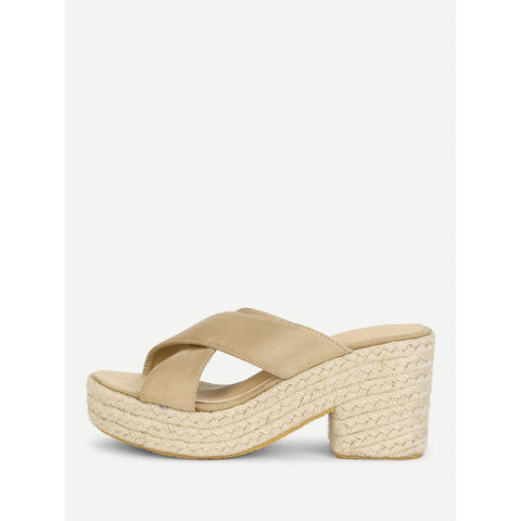Criss Cross Suede Wedge Sandals