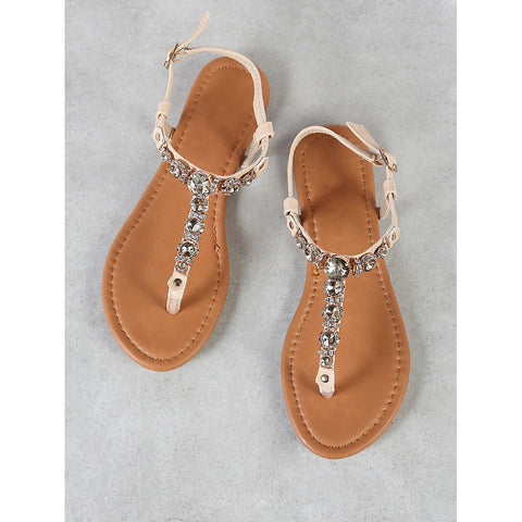 82cf5f301ef22 Rhinestone Embellished Thong Sandal with Ankle Strap BEIGE - Anabella s