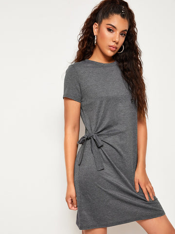 Space Dye Knot Side Tee Dress