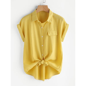 Rolled Cuff Knotted Hem Shirt Yellow
