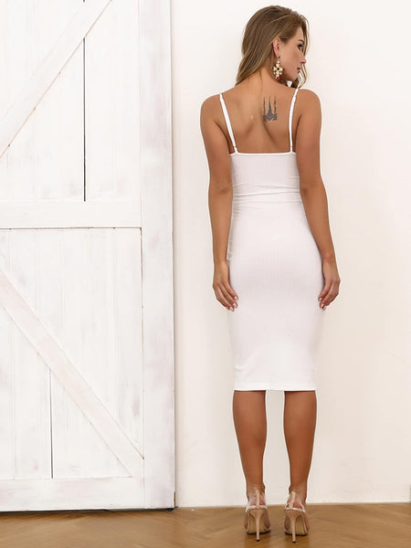 Joyfunear Form Fitting Dress With Chain Strappy
