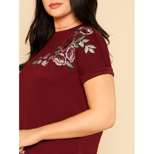 Embroidered Rose Patch T-shirt BURGUNDY - Anabella's
