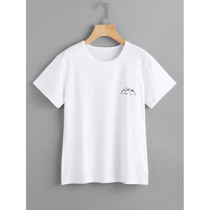 Mountain Print Tee White