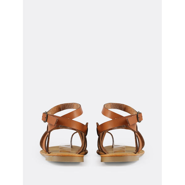 Multi Strap Gladiator Ankle Sandals TAN - Anabella's