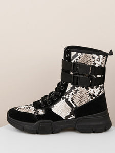 Lace Up Snake Print Side Buckle Hiking Boots