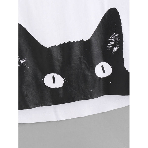 Cat Print Curved Back Crop Tank Top