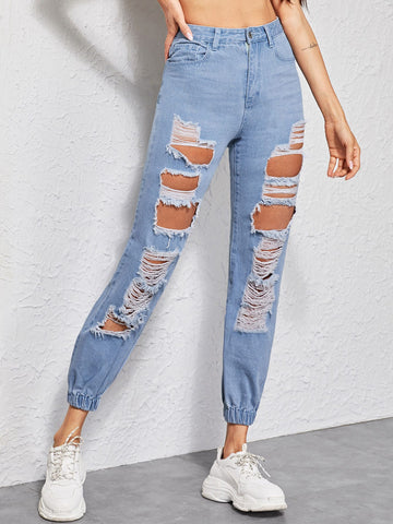 Bleach Wash Ripped Carrot Jeans