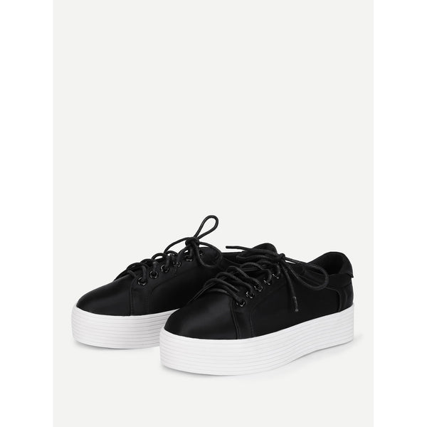 Lace Up Flatform Satin Shoes - Anabella's
