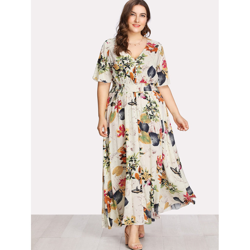 Button Front Shirred Waist Tropical Dress - Anabella's