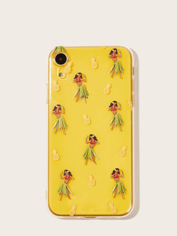 Pineapple & Lady Pattern Transparent iPhone Case