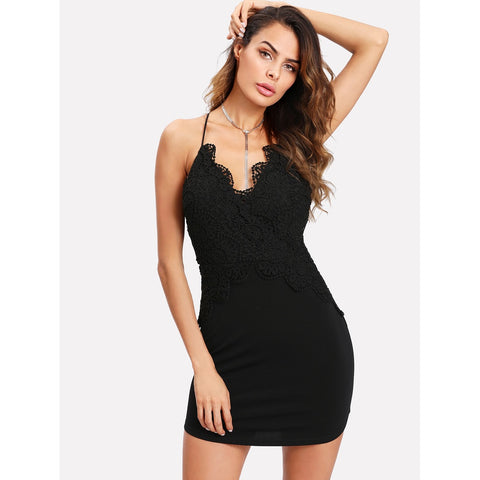 Scallop Lace Applique Fitted Cami Dress