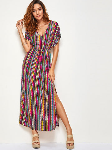 Tassel Trim Drawstring Waist Colorful Tribal Print Dress