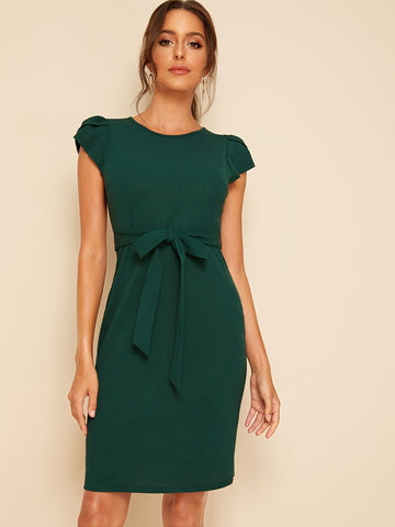 Petal Sleeve Self Belted Dress