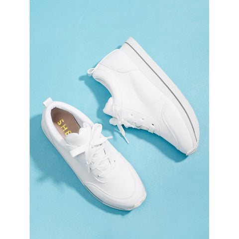 Lace Up Low Top Sneakers White