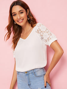 Contrast Lace Sleeve V-neck Blouse