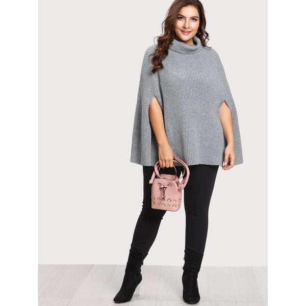 Rolled Neck Cape Sleeve Jumper - Anabella's
