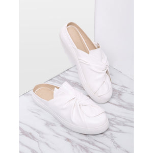 White Faux Leather Round Toe Slippers
