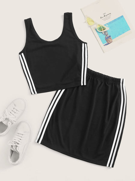 Side Stripe Tank With Skirt