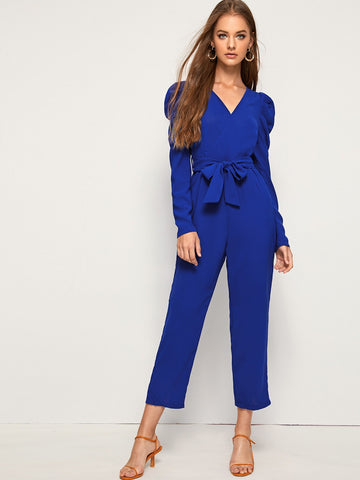Self Tie Puff Sleeve Solid Jumpsuit