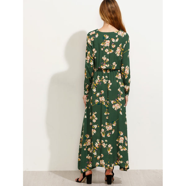 Blossom Print Buttoned Front Maxi Dress
