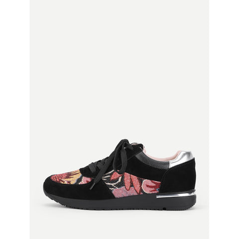 Flower Pattern Lace Up Trainers - Anabella's