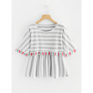 Plus Contrast Stripe Tassel Trim Tee Grey