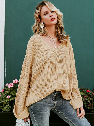 Simplee Drop Shoulder Pocket Patch Sweater