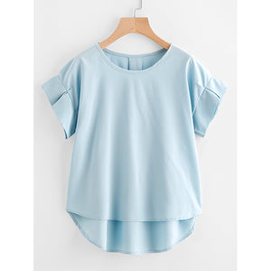 Ruffle Sleeve Dip Hem Top Blue