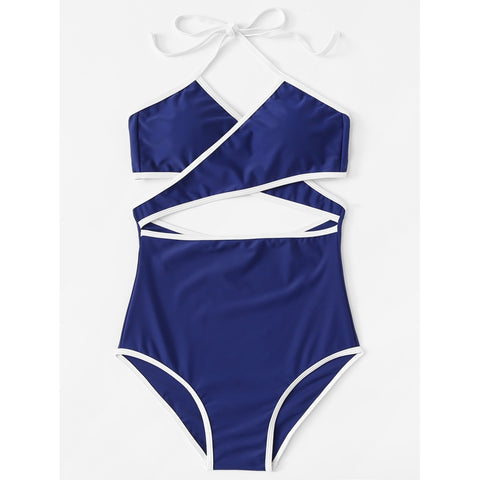 Contrast Piping Crossover Swimsuit BLUE