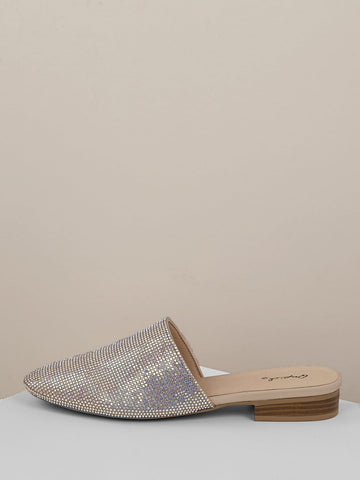 Almond Toe Rhinestone Crystal Low Heel Slide Mules