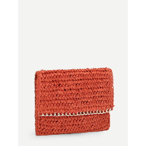 Chain Trim Woven Bag