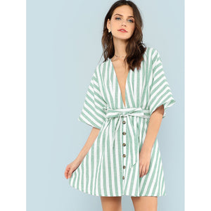 Deep V Neck Button Front Striped Dress Green
