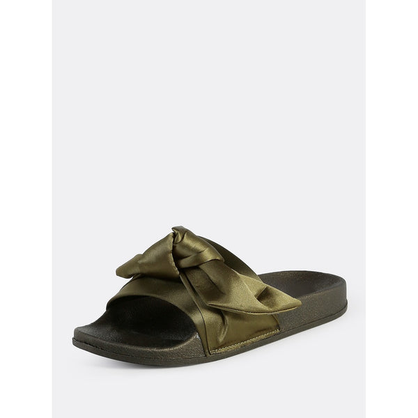 Satin Bow One Band Slides OLIVE - Anabella's